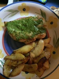 pesto chicken and apples